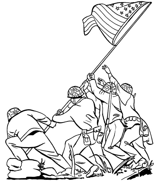 Army, : Iwo Jima Army History Coloring Pages