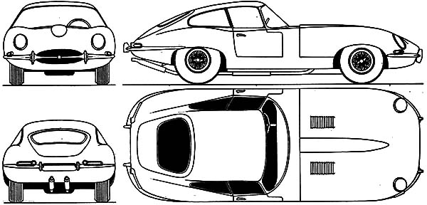 Jaguar Cars, : Jaguar E Type S1 Coupe 1961 Cars Coloring Pages
