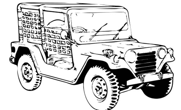 Army Car, : Jeep Army Car Coloring Pages