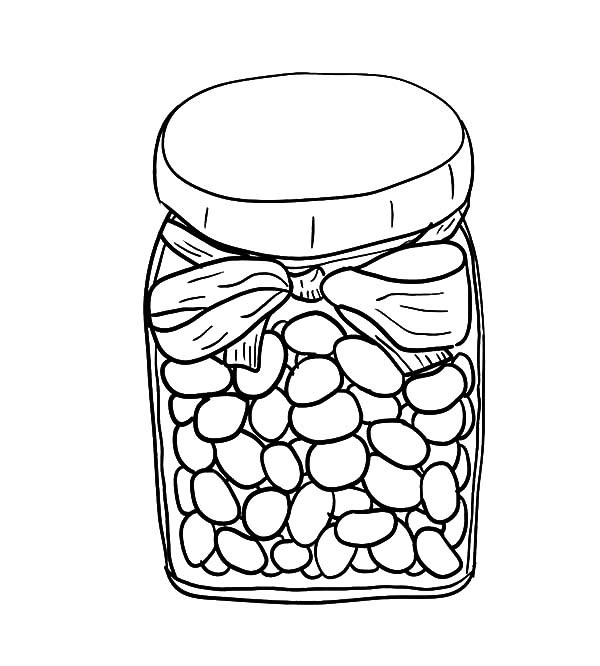 Jar, : Jelly Beans in Jar Coloring Pages
