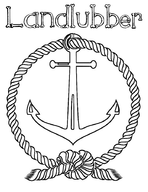 Anchor, : Landlubber Anchor Coloring Pages