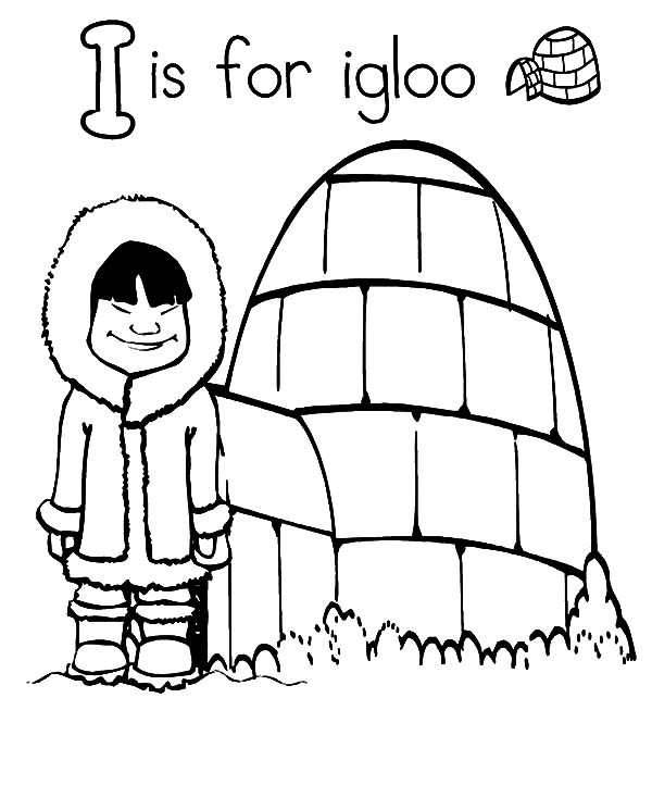Igloo, : Letter I is for Igloo Coloring Pages
