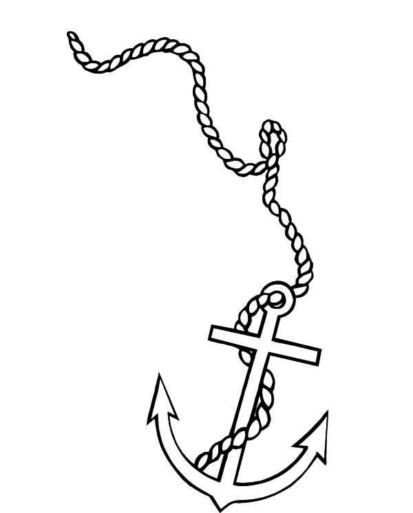 The gallery for nautical drawing anchor for Anchor coloring page