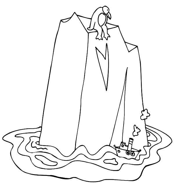 Iceberg, : Little Ship and Gigantic Iceberg Coloring Pages