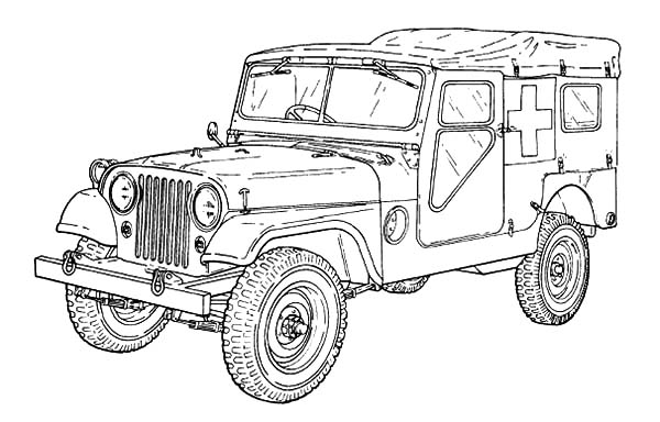 Army Car, : M170 Ambulance Army Car Coloring Pages1