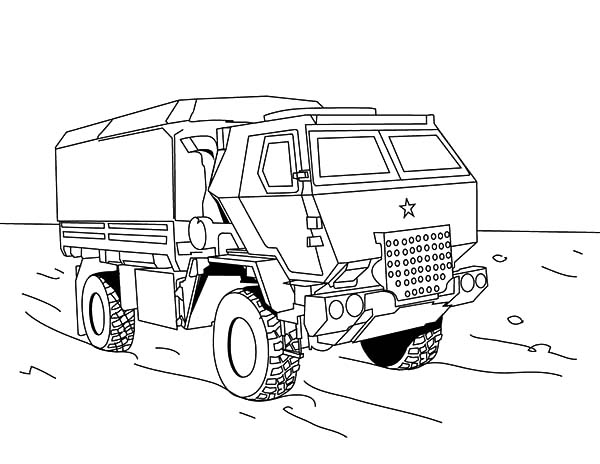 Army Car, : Military Off Road Truck Army Car Coloring Pages