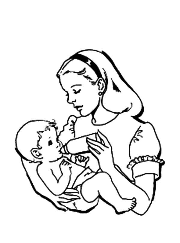 Babies, : Mommy Taking Care Babies Coloring Pages