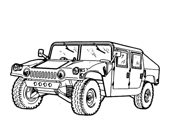 Army Car, : Official Army Car Coloring Pages