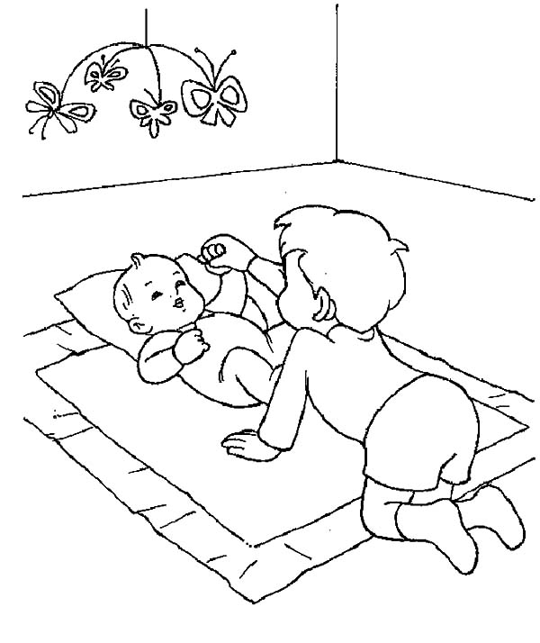 Babies, : Older Brother Play with Babies Coloring Pages