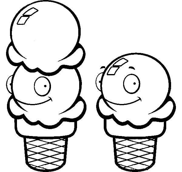 Ice Cream Cone, : One and Two Scoop of Ice Cream Cone Coloring Pages