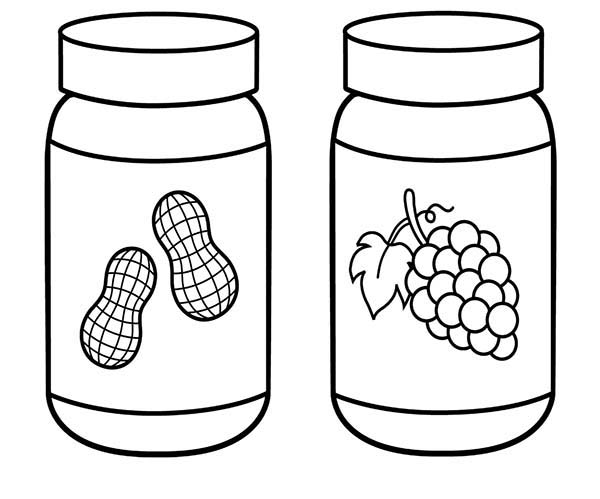 Jar, : Peanut Butter and Grape Jar Coloring Pages