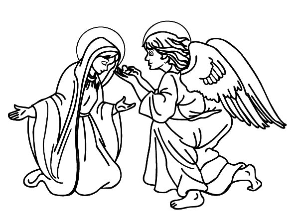 Angel Appears To Mary, : Picture of an Angel Appears to Mary Coloring Pages