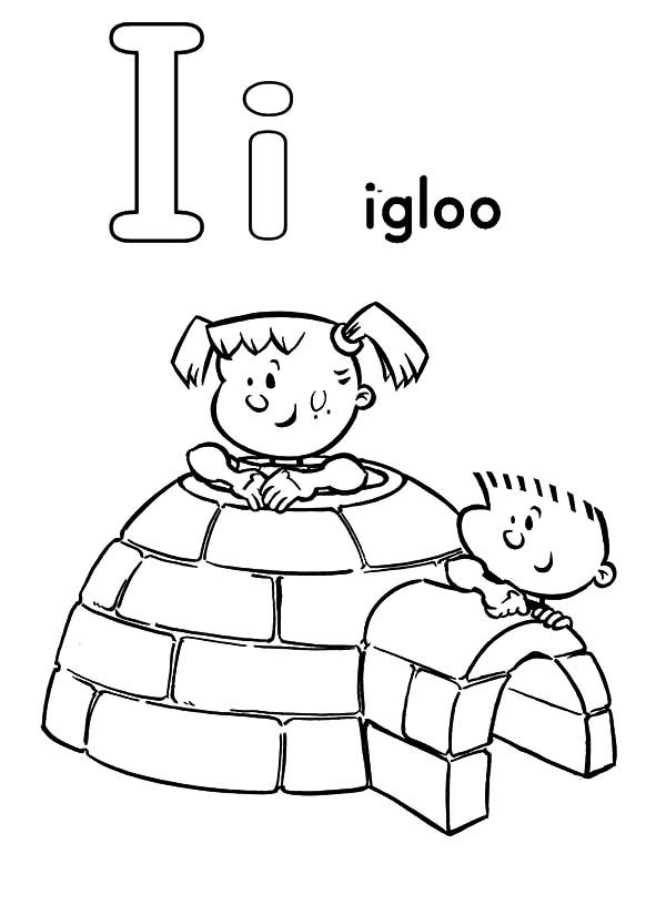 Igloo, : Playing Inside Igloo Coloring Pages