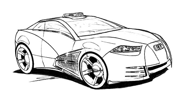 Police Audi Cars Coloring Pages