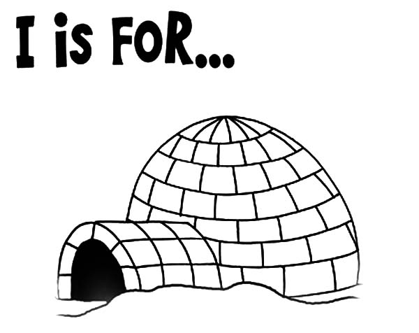 Igloo, : Preschool Kids Learning Igloo Coloring Pages