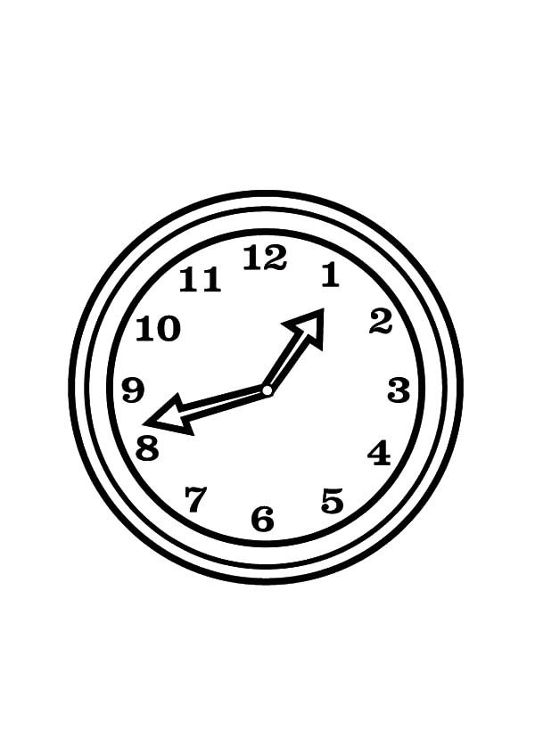 Analog Clock, : Preschooler Kids Analog Clock Coloring Pages