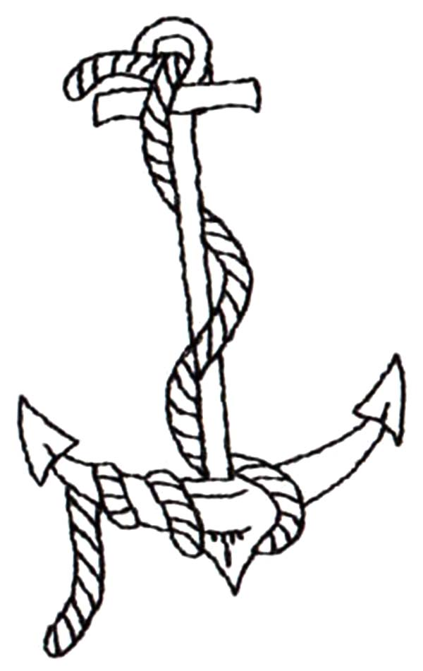 rope on anchor coloring pages - Anchor Coloring Page