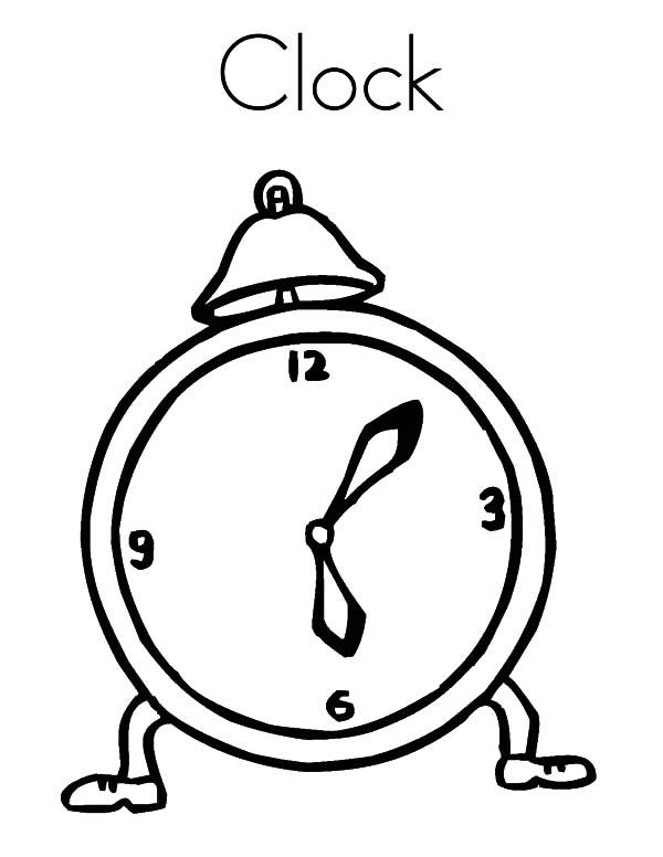 Analog Clock, : Runaway Analog Clock Coloring Pages