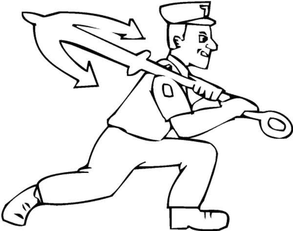 sailor man carries anchor coloring pages
