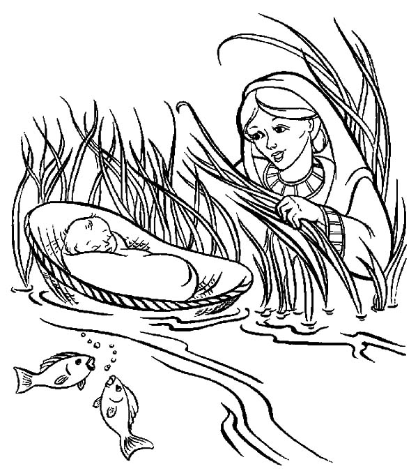 Babies, : Save Babies Moses Coloring Pages