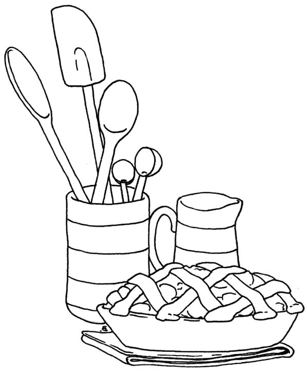 Apple Pie, : Serving Apple Pie Coloring Pages