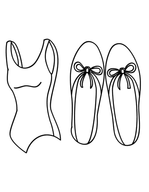 Ballerina Shoes, : Shirt and Ballerina Shoes Coloring Pages