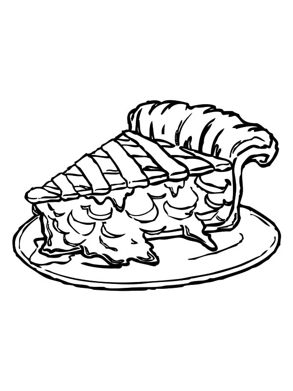 Apple Pie, : Slice of Tasty Apple Pie Coloring Pages