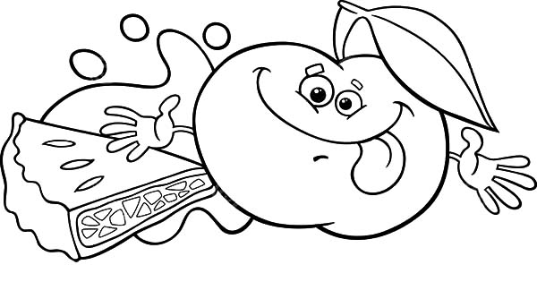 Apple Pie, : Smiling Apple for Apple Pie Coloring Pages
