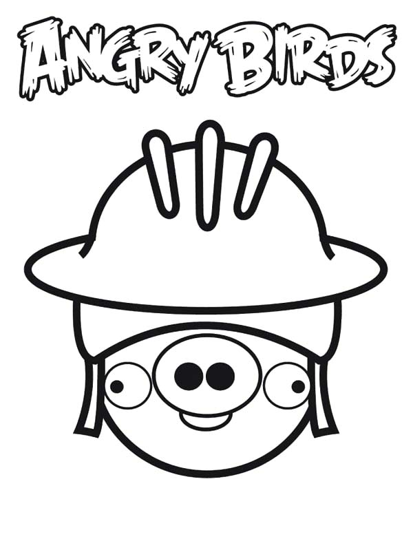 Free coloring pages of flying pigs for Angry bird pig template