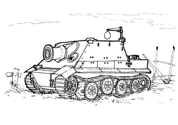 Army Car, : Sturmtiger Army Car Coloring Pages