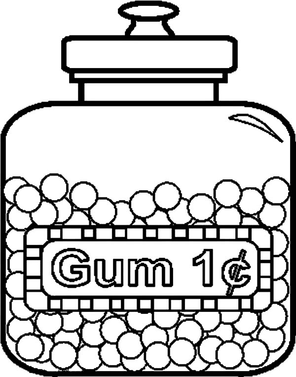 Jar, : Tasty Gum Jar Coloring Pages