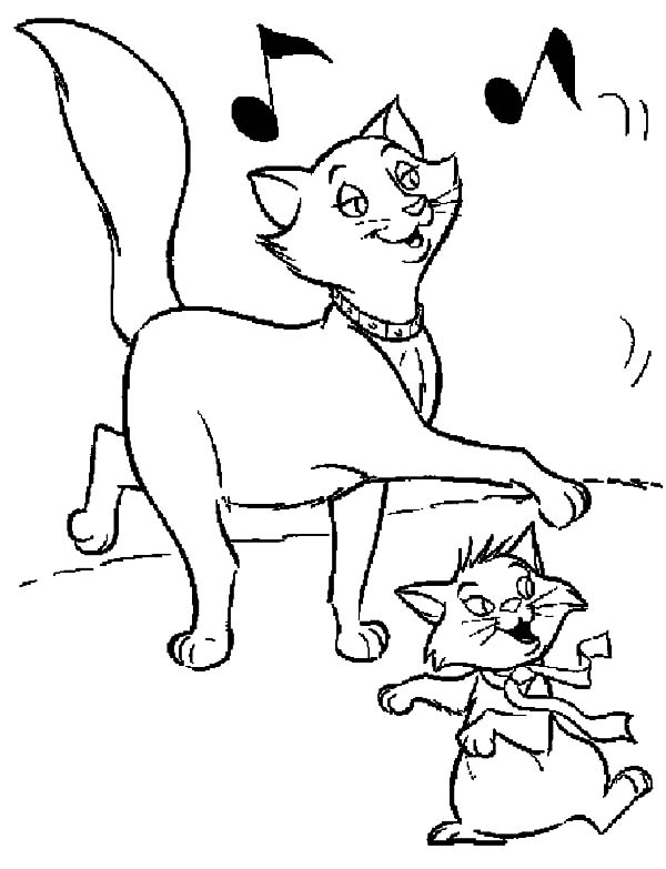 Aristocats, : The Aristocats Berlioz and Duchess Dancing Together Coloring Pages
