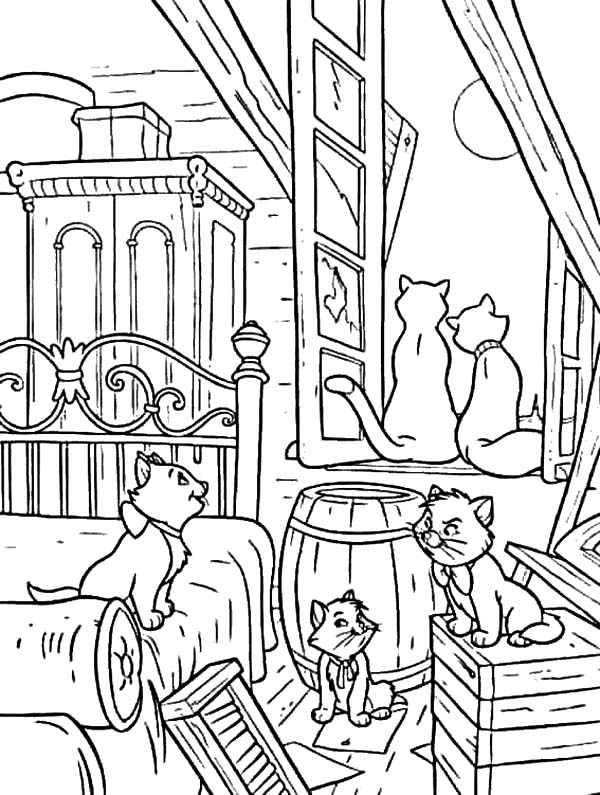 Aristocats, : The Aristocats Gather in Their House Coloring Pages