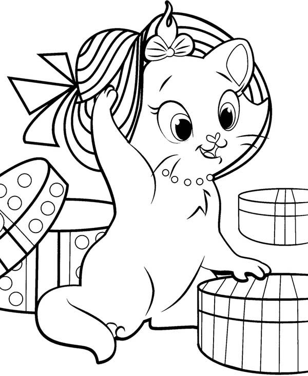 Aristocats, : The Aristocats Marie Beautiful Hat Coloring Pages