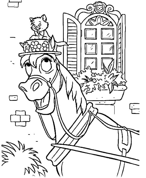 Aristocats, : The Aristocats Marie Sitting on Frou-frou Hat Coloring Pages