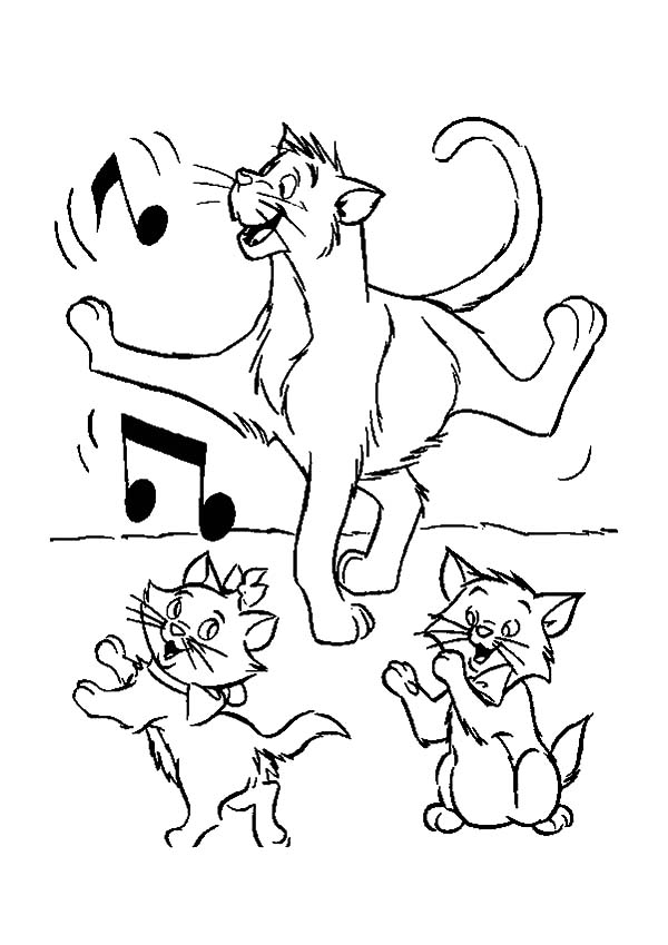 Aristocats, : The Aristocats Thomas Dancing Class with Toulouse and Marie Coloring Pages