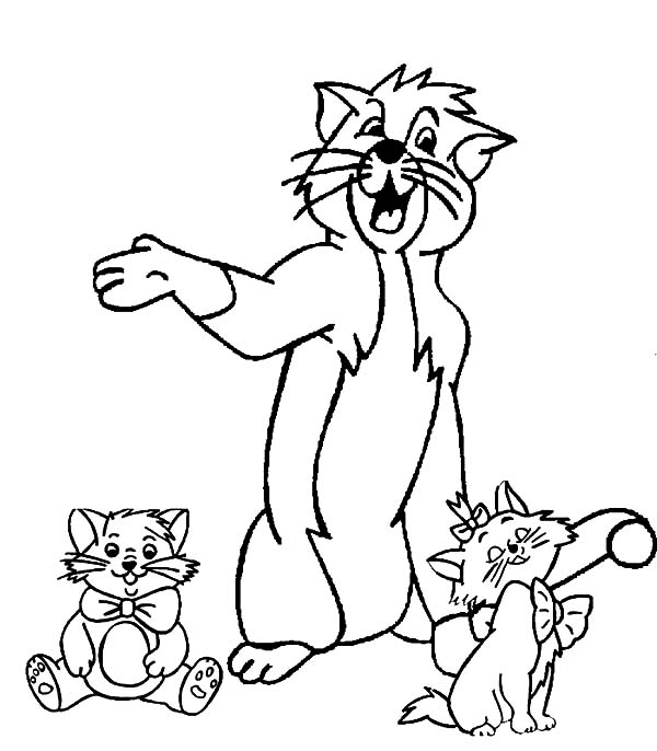 the aristocats thomas play with marie and toulouse coloring pages