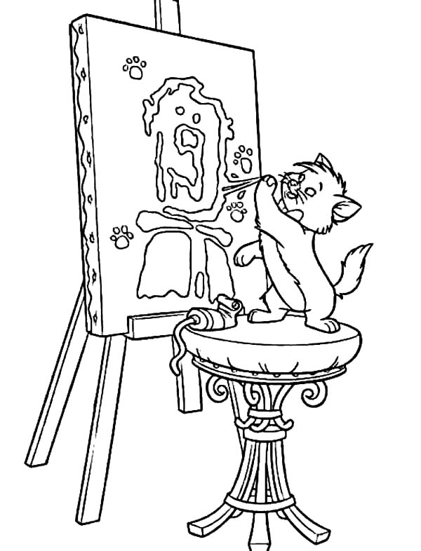Aristocats, : The Aristocats Toulouse Try to Paint Like Berlioz Coloring Pages