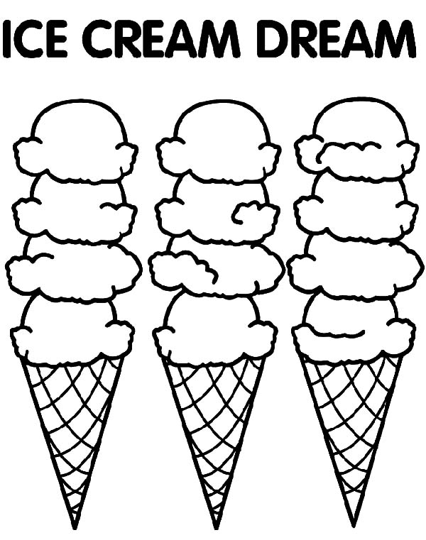 Ice Cream Cone, : Three Cone of Ice Cream Dream Coloring Pages