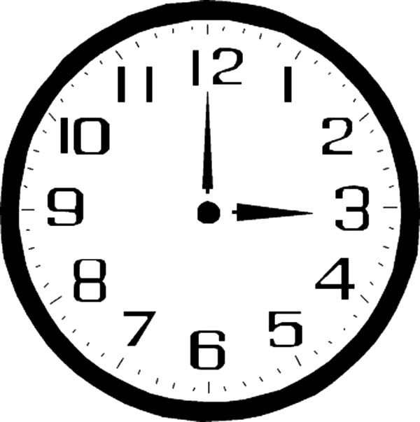 Analog Clock, : Three O'Clock on Analog Clock Coloring Pages