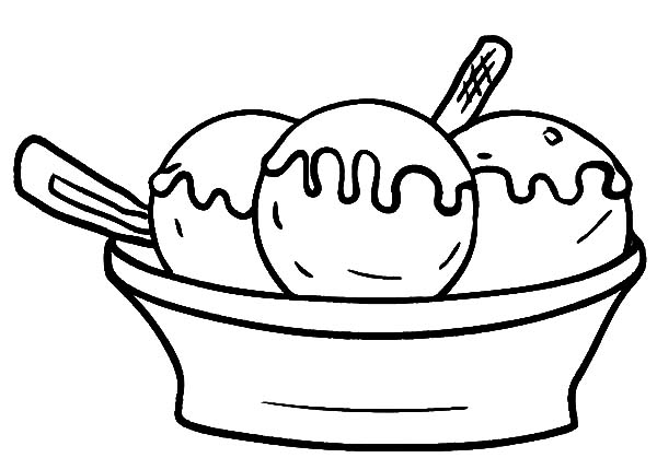 Ice Cream, : Three Scoop of Ice Cream Bowl Coloring Pages