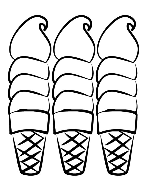 Ice Cream Cone, : Three Sweet Ice Cream Cone Coloring Pages