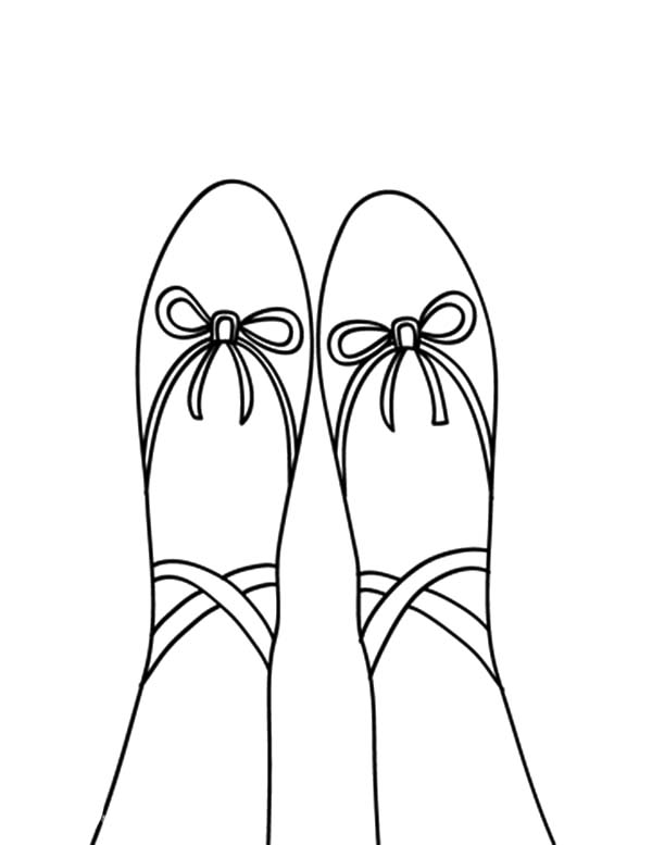 Ballerina Shoes, : Toe Ballerina Shoes Coloring Pages