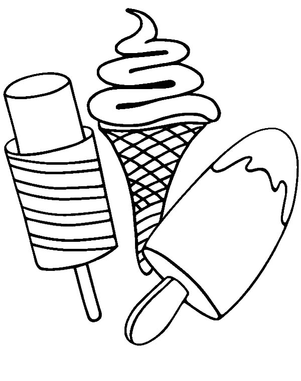 Ice Cream, : Various Type of Ice Cream on Stick Coloring Pages