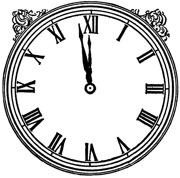 Analog Clock, : Vintage Analog Clock Coloring Pages