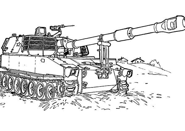 Army Car, : War Tank at the Beach in Army Car Coloring Pages