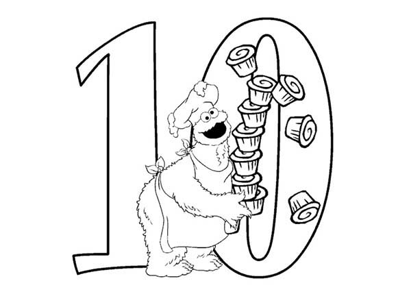 Learn Number 10 With Ten Cupcakes In Sesame Street Coloring Page