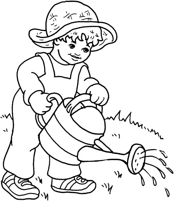 Gardening, : A Boy Doing Gardening Coloring Pages