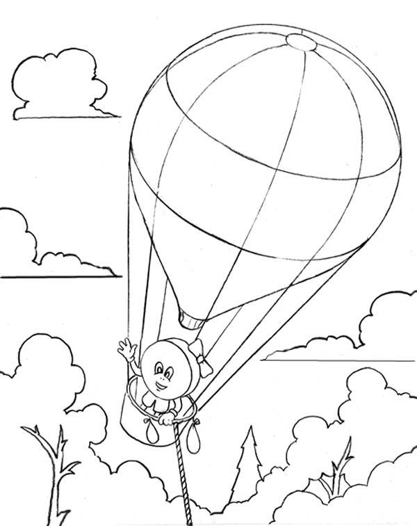 Hot Air Balloon, : A Candy on Hot Air Balloon Coloring Pages