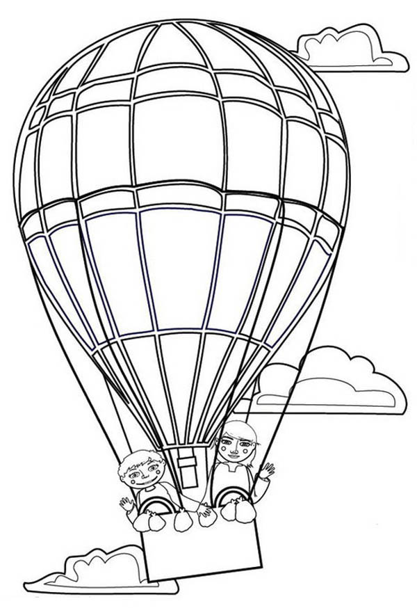 Hot Air Balloon, : A Family on Hot Air Balloon Coloring Pages